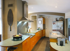 open plan kitchen with curved ceiling to facilitate air movement