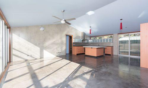 05 - Strine Design - Canberra builder - Strine Environments - Solstice House 1 - internal - prefab concrete walls and slabb - open living