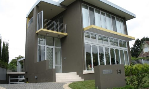 25 - Yarralumla Bay House - Sustainable house - Strine Design - outside - drive and street aspect