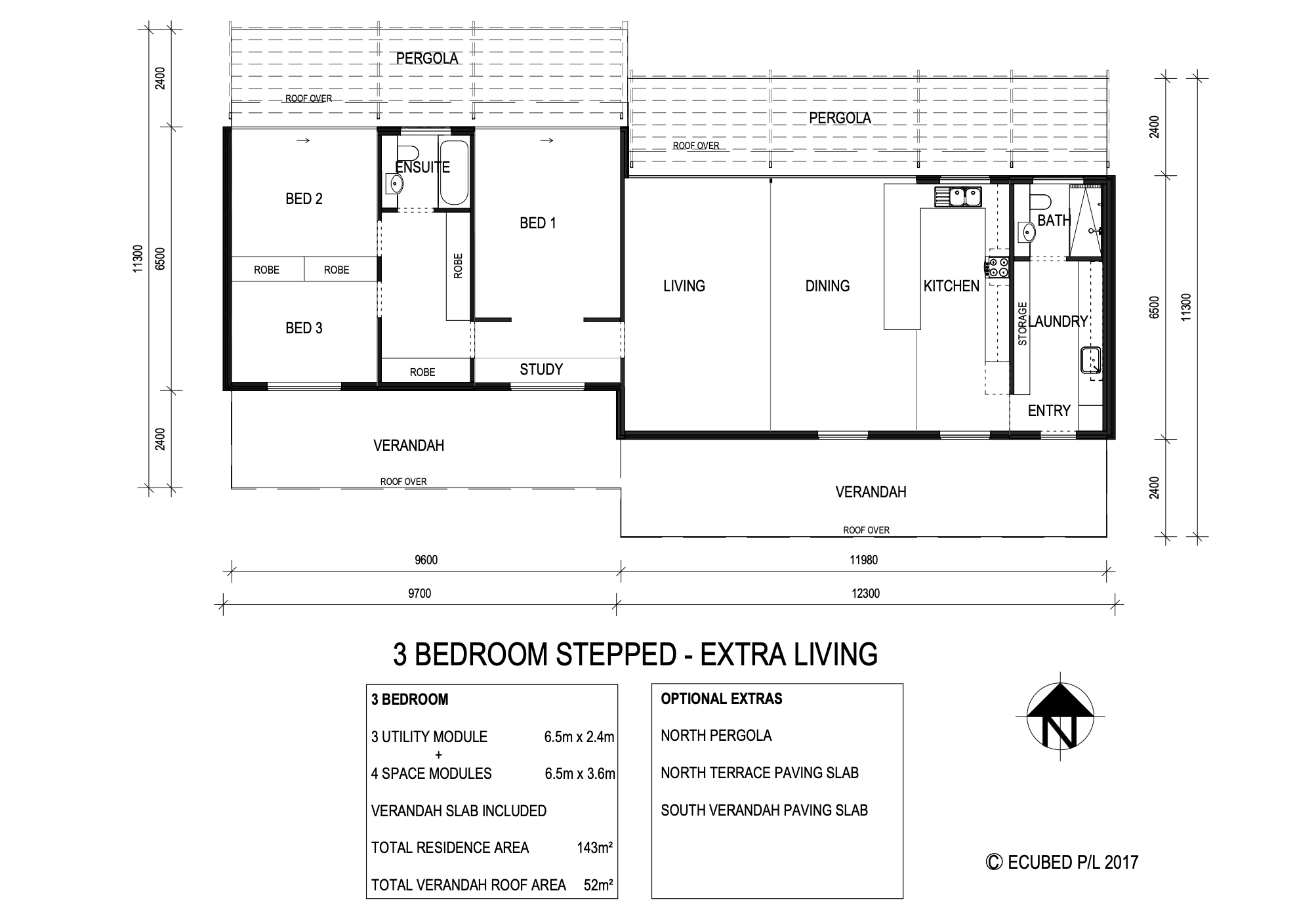 3 Bedroom stepped